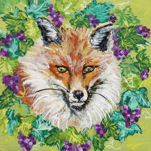 Fox Peaking through Wreath of Grapes on Green