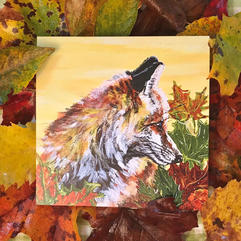 Autumn Fox Square notecard with matching envelope $3.00 each