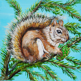 Red Squirrel Snack Pine Tree 6x6x1 SOLD