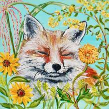 Splendor in the Grasses - Happy Fox with Goldenrod, Dahlia, Blackeyed Susans, Zebra Grass on Aqua