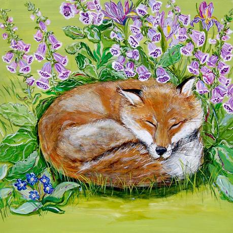 Sleeping Fox in the Foxglove with Iris and Bugloss on Green
