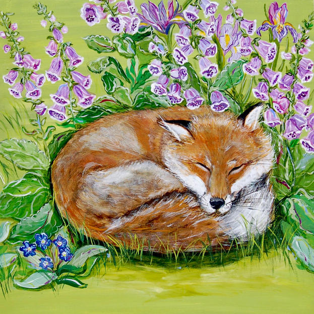 Sleeping Fox in the Foxglove with Iris and Bugloss on Green