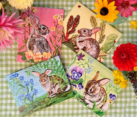 Set of 4 Assorted Bunny Notecards with Matching Envelopes!