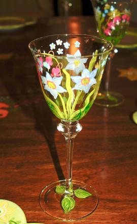 Springtime Floral Wine Glass