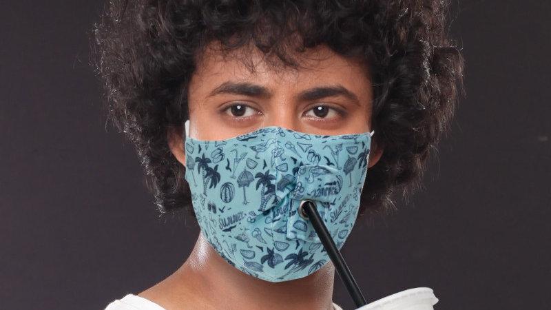 Custom Printed 3D Face Masks w/ straw holes ($4.00 per unit-Minimum order of 20)