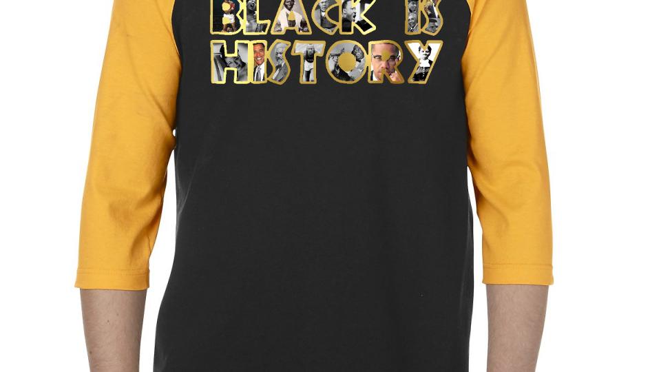 Black is History Baseball Tee