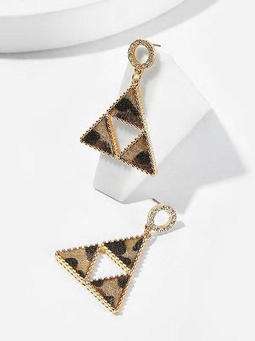 Leopard Triangle Shaped Drop Earrings 1pair