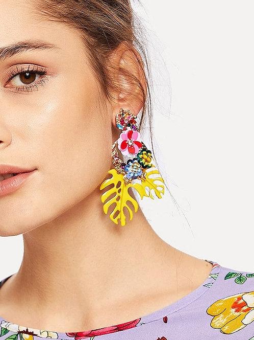 Tropical Leaves & Sequin Flower Drop Earrings 1pair yellow