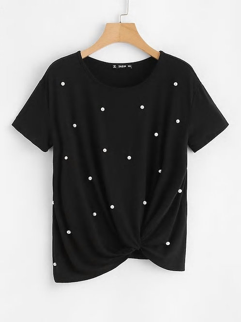 Pearl Embellished Twist Front Tee