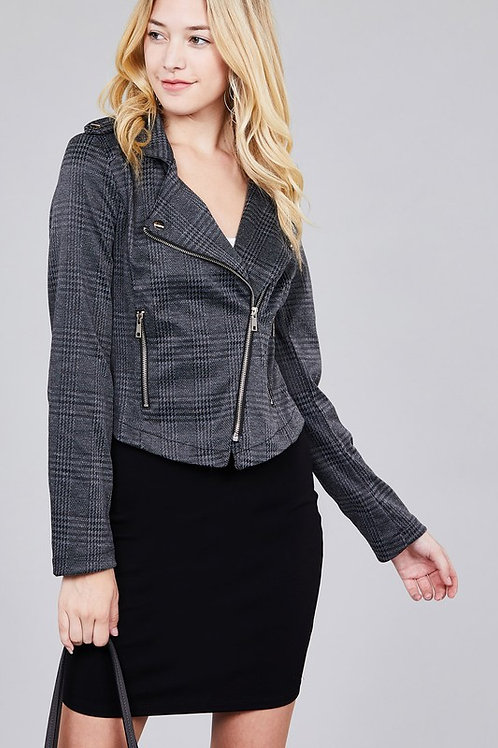 Long Sleeve Jacquard Checked Moto Jacket