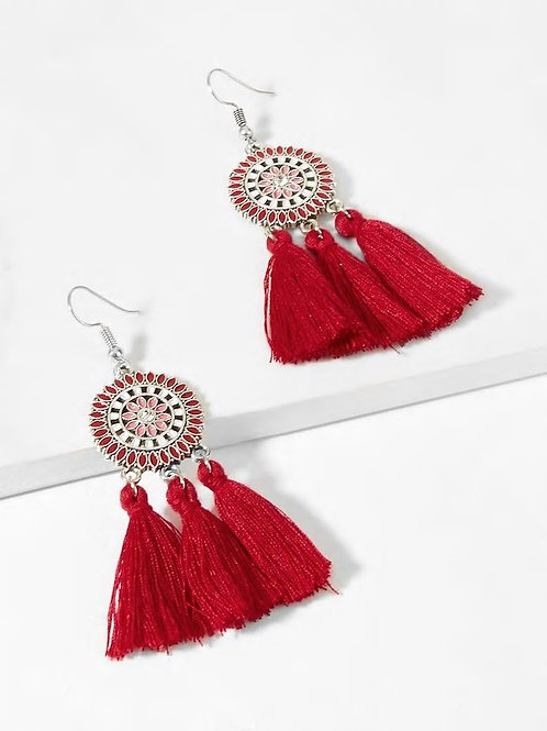 Tassel Sector Drop Earrings 1pair red