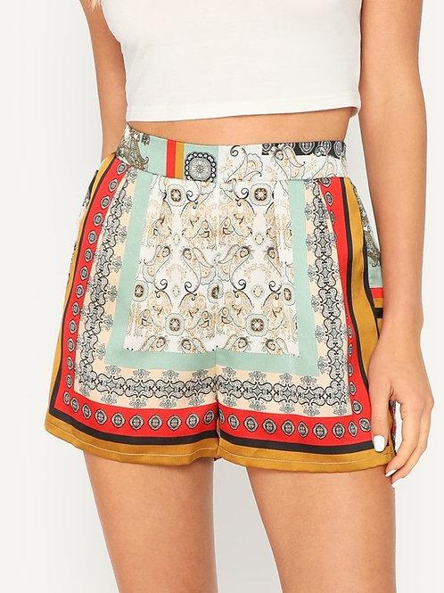 Elastic Waist Scarf Print Shorts
