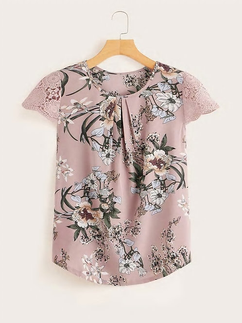 Contrast Lace Cuff Floral Print Blouse