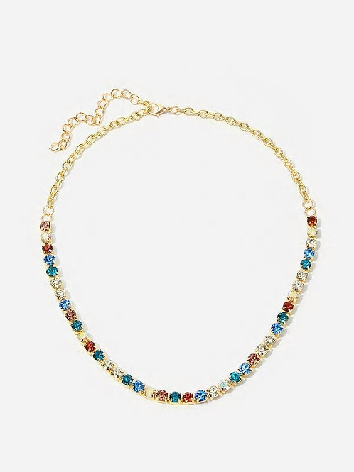 Color-block Rhinestone Engraved Chain Necklace 1pc