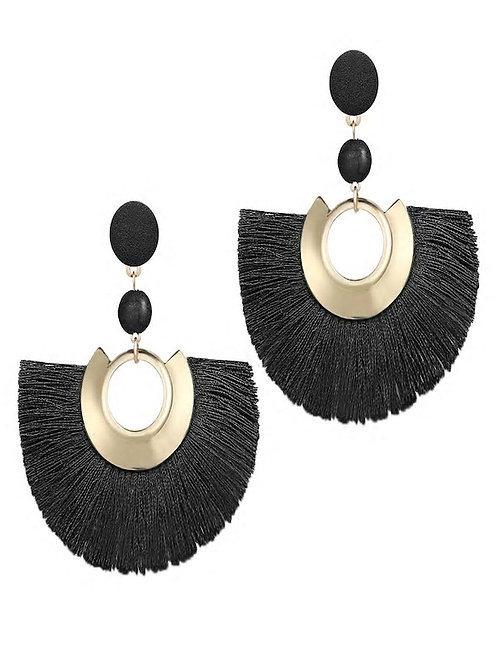 Fan Shaped Open Tassel Drop Earrings 1pair