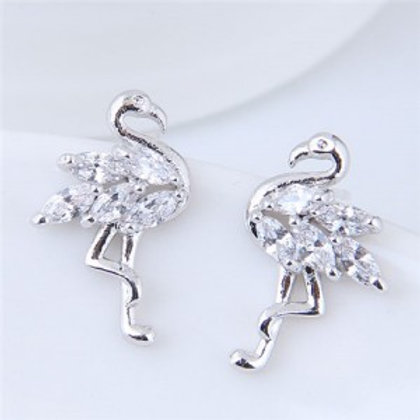 shining-cubic-zirconia-inlaid-swan-high-fashion-copper-stud-earrings-silver