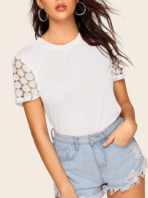Solid Contrast Lace Tee