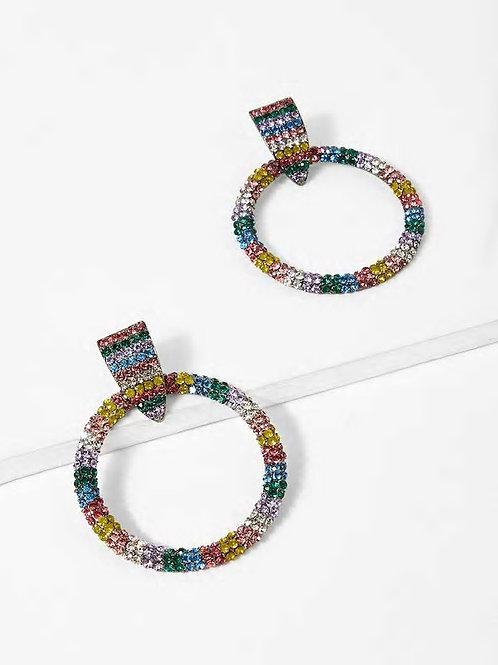 Color Block Rhinestone Hoop Earrings 1pair