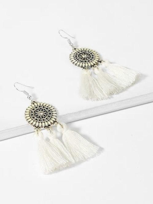 Tassel Sector Drop Earrings 1pair white