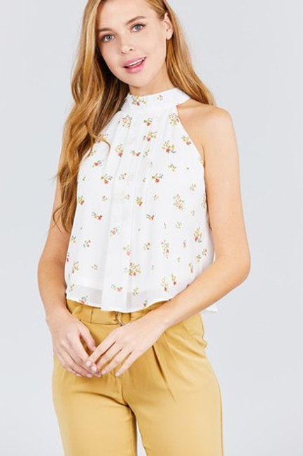 Halter Neck A-line Flare Prinited Woven Top
