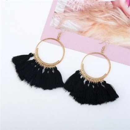 high-fashion-cotton-threads-tassel-big-hoop-statement-earrings-black