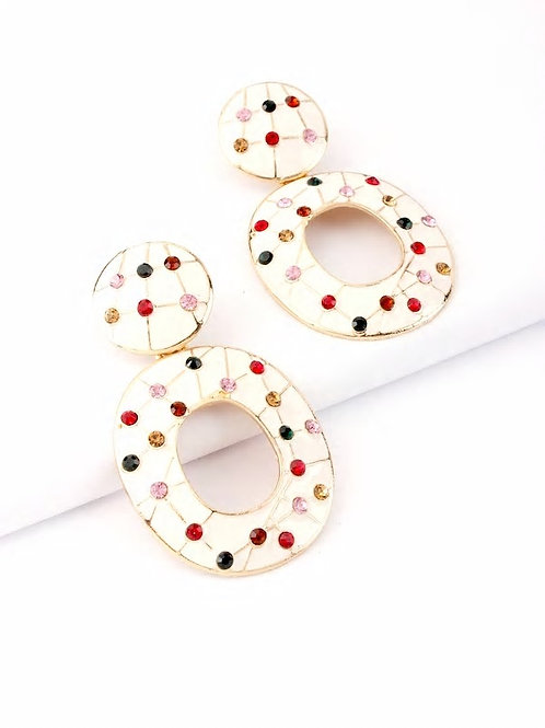 Color Block Rhinestone Engraved Drop Earrings 1pair