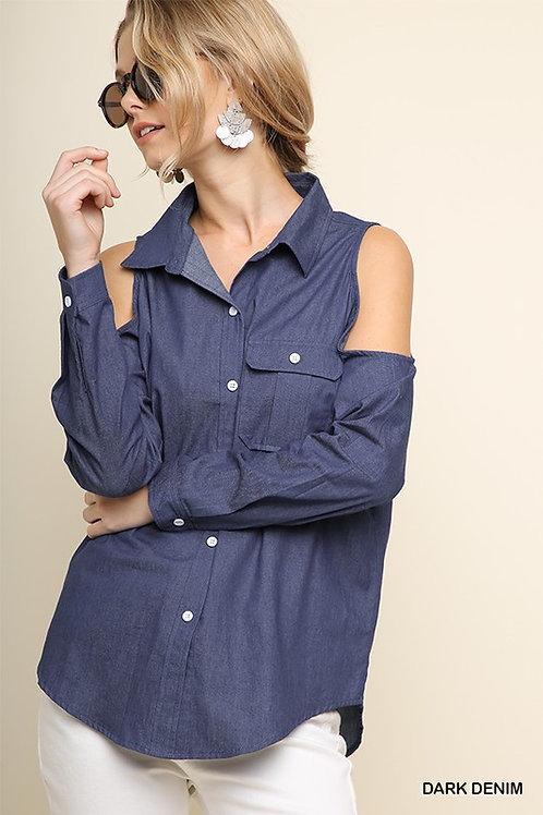 Long Sleeve Denim Open Shoulder Button Up Top