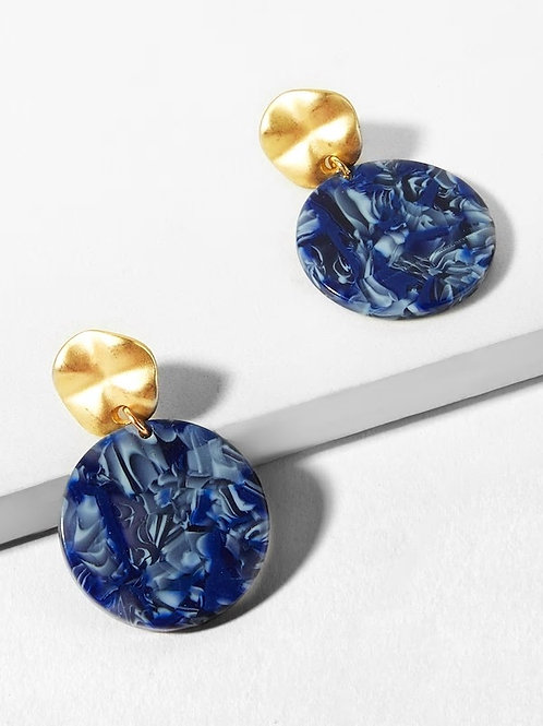 Marble Pattern Round Drop Earrings 1pair