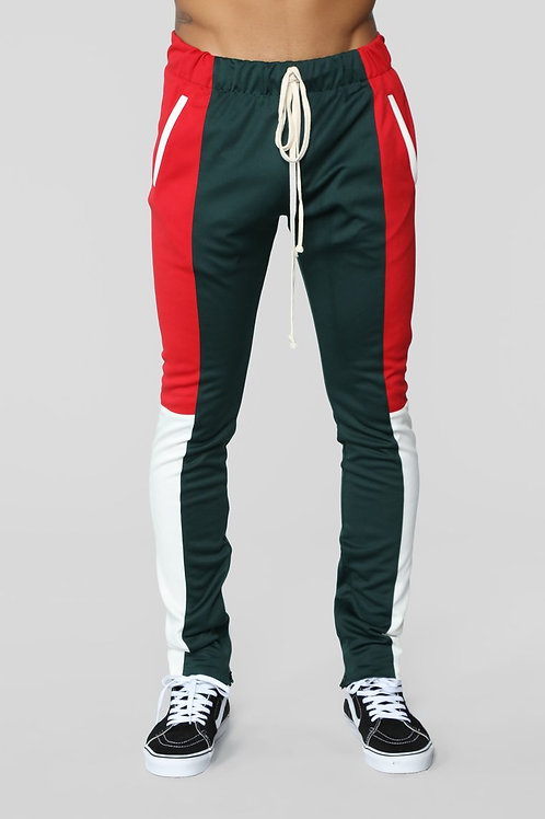 FAASHIONNOVA - Money Ties Track Pants - Green/combo