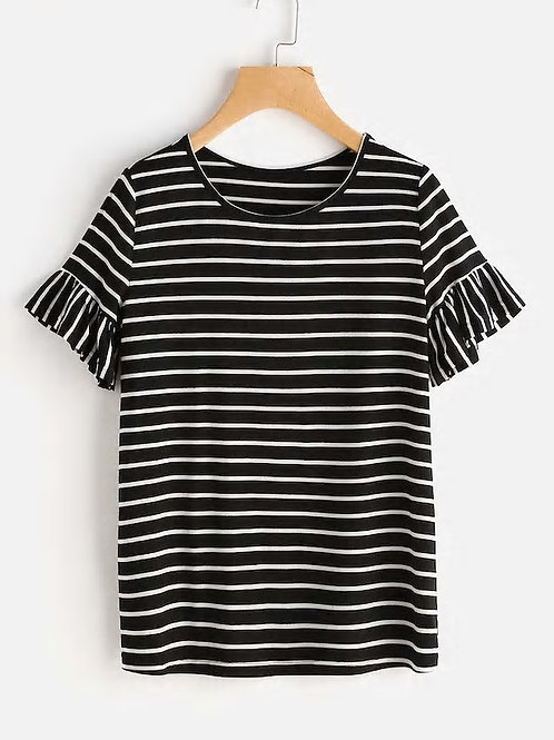 SHEIN Frilled Sleeve Striped Tee