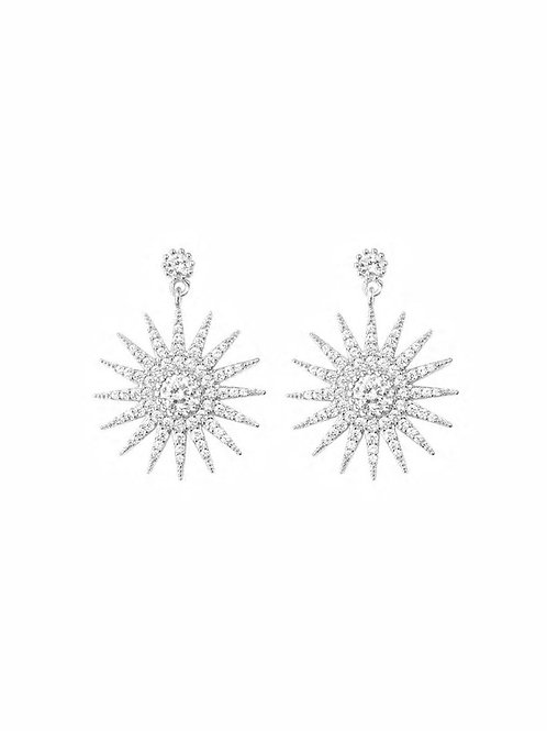 Sun Design Rhinestone Drop Earrings 1pair