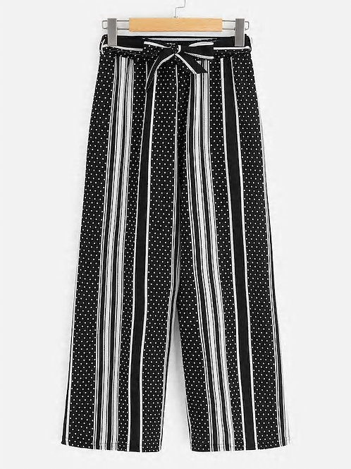 Polka Dot Striped Belted Wide Leg Palazzo Pants