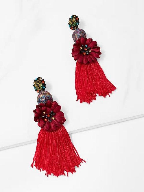 Contrast Flower Fringe Drop Earrings 1pair