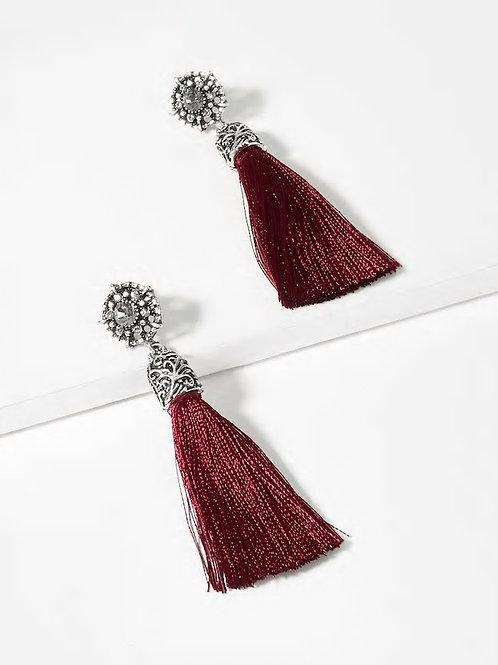 Rhinestone Engraved Detail Tassel Drop Earrings 1pair
