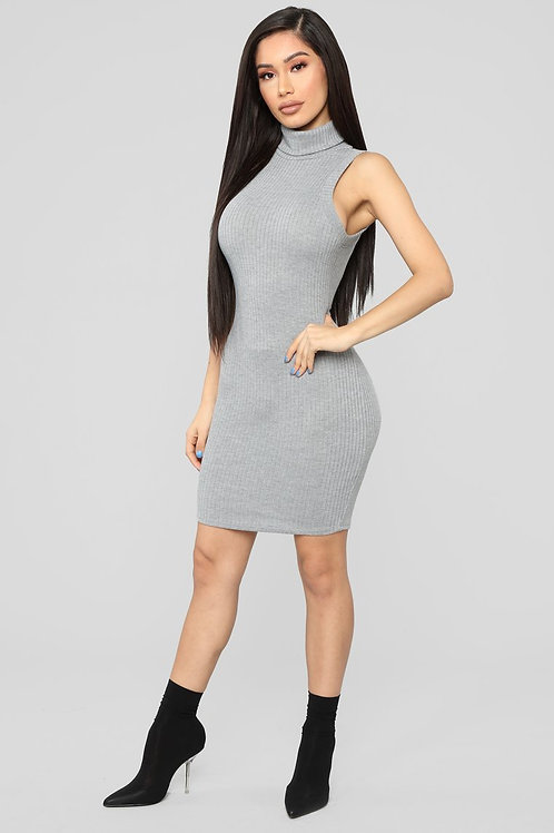 FASHION NOVA - Ready For Some Chill Ribbed Mini Dress – Grey