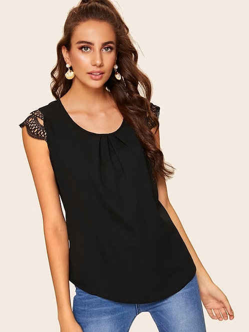 Contrast Lace Sleeve Pleated Blouse