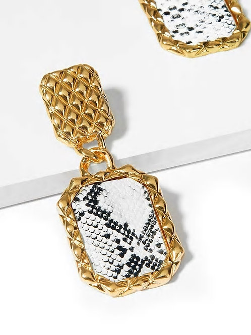 Snakeskin Pattern Textured Drop Earrings 1pair