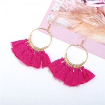 high-fashion-cotton-threads-tassel-big-hoop-statement-earrings-pink