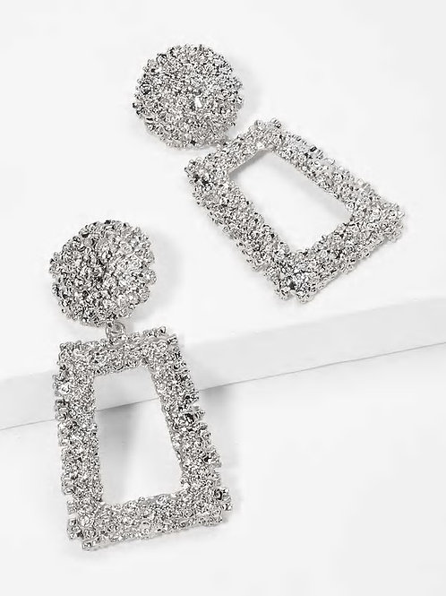Open Rectangle Textured Drop Earrings 1pair sliver
