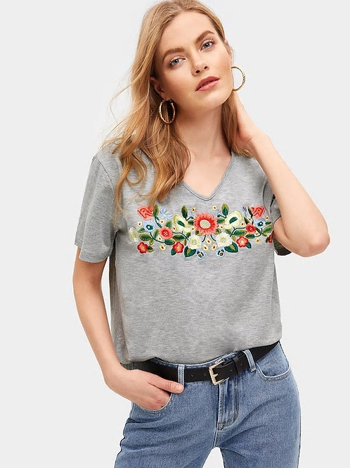 Floral Embroidered V-neck Tee