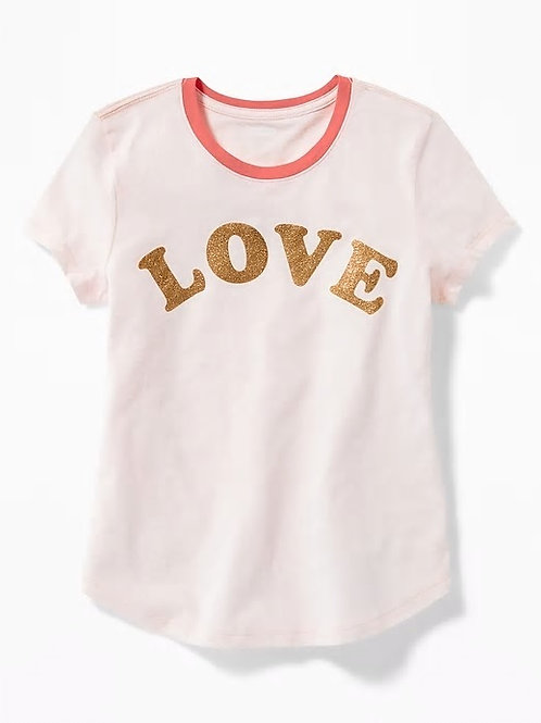 Graphic Curved-Hem Tee for Girls