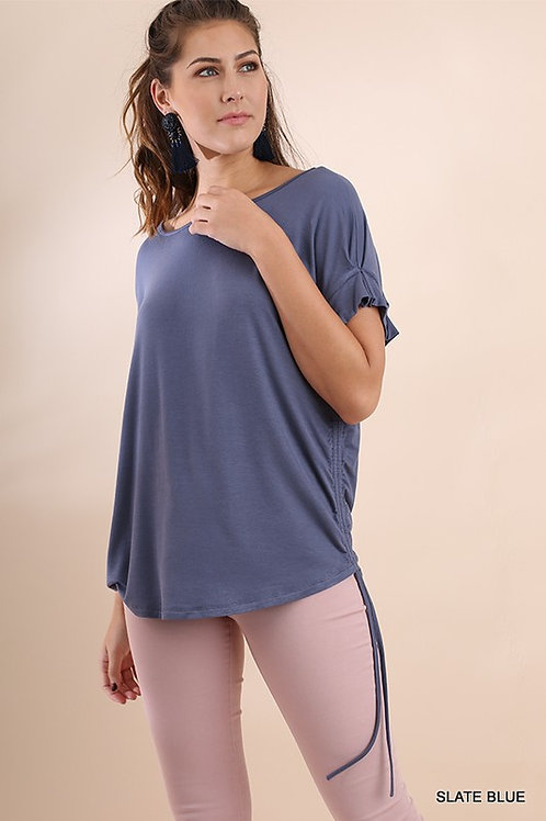Scoop Neck Short Sleeve Top and Drawstring Detail