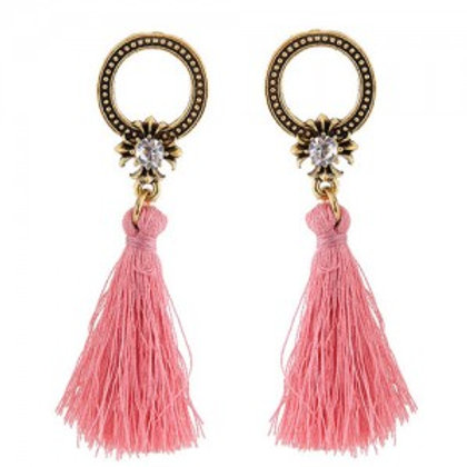vintage-studs-hoop-design-with-threads-tassel-fashion-earrings-pink