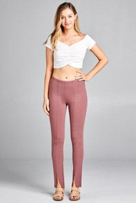 Front Slim Hem Detail Ponte Pants