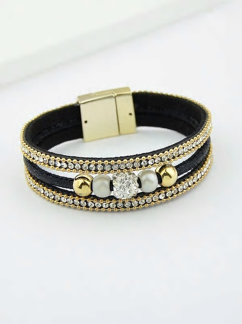 Multilayer Bracelet Wristband With Rhinestone Decoration