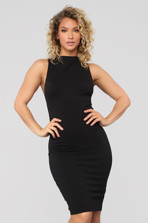 FASHION NOVA - Jordan High Neck Midi Dress - Black