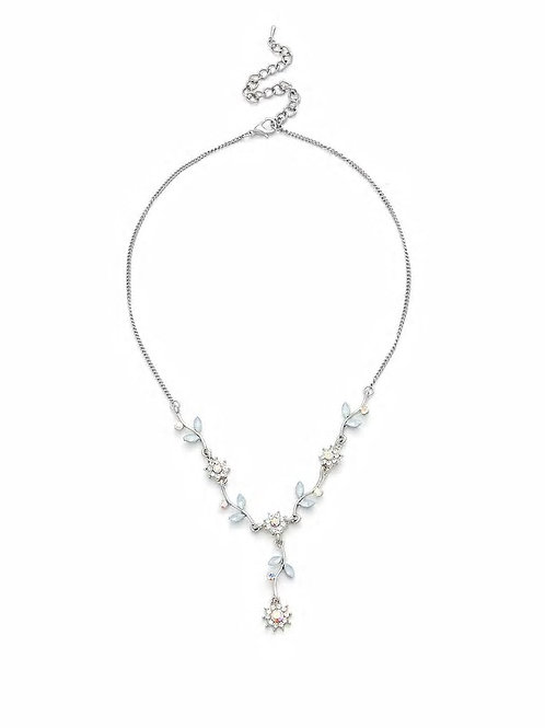 Rhinestone Flower Design Pendant Necklace