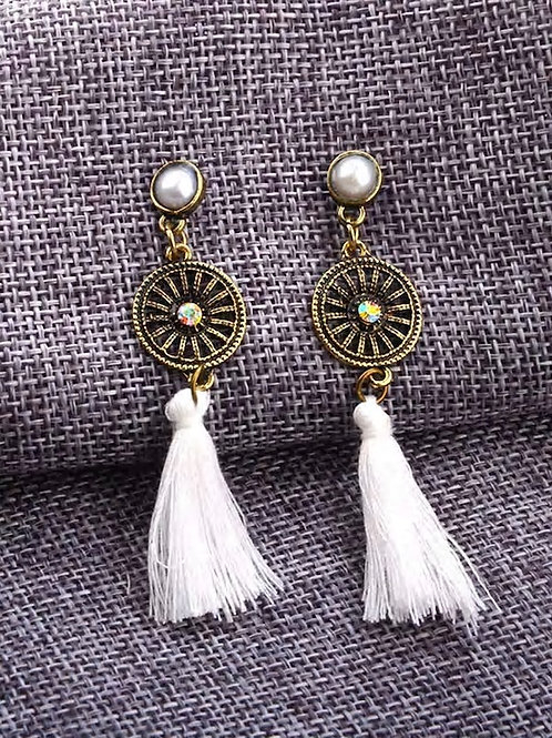 Contrast Tassel Dangle Earrings 1pair