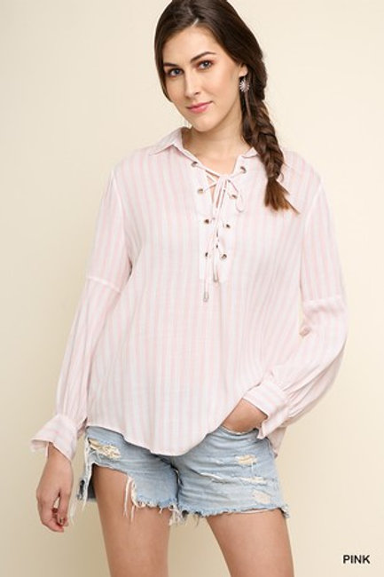Striped Long sleeve collared top with lace up neck line with draw string hem