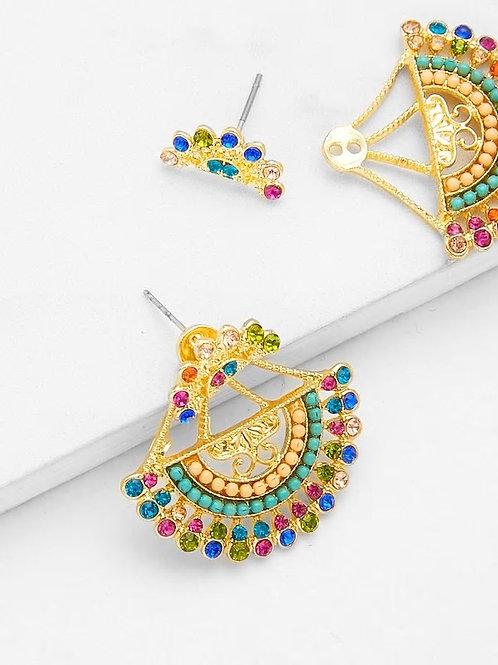 Semicircle Shaped Drop Earrings With Rhinestone 1pair